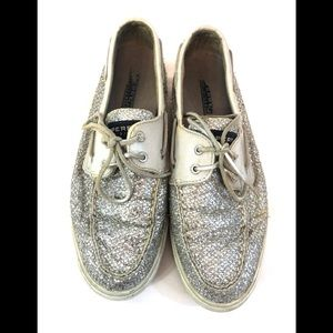 Sperry Silver Sparkly Loafer Boat Shoes